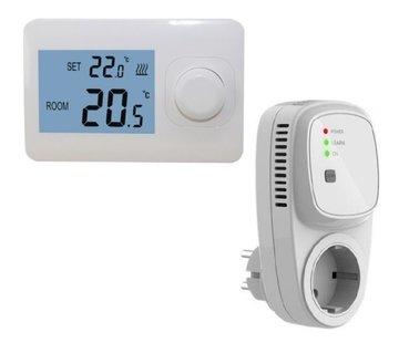 Quality Heating QH Basic draadloze eenvoudige thermostaat niet programmeerbaar incl. TC-400 Plug-in ontvanger