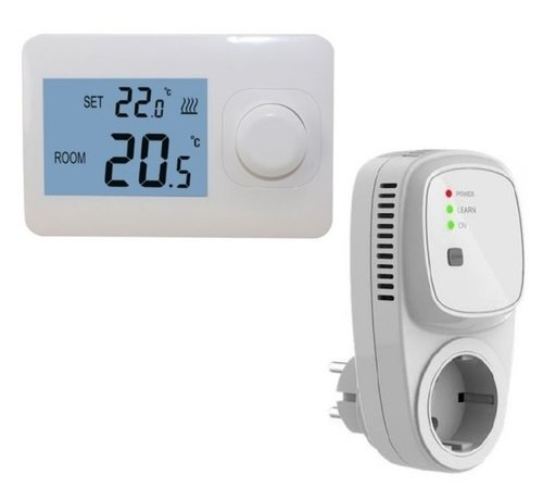 Quality Heating Draadloze eenvoudige thermostaat (Niet programmeerbaar) RF-OPTIMA easy inclusief PLUG in ontvanger