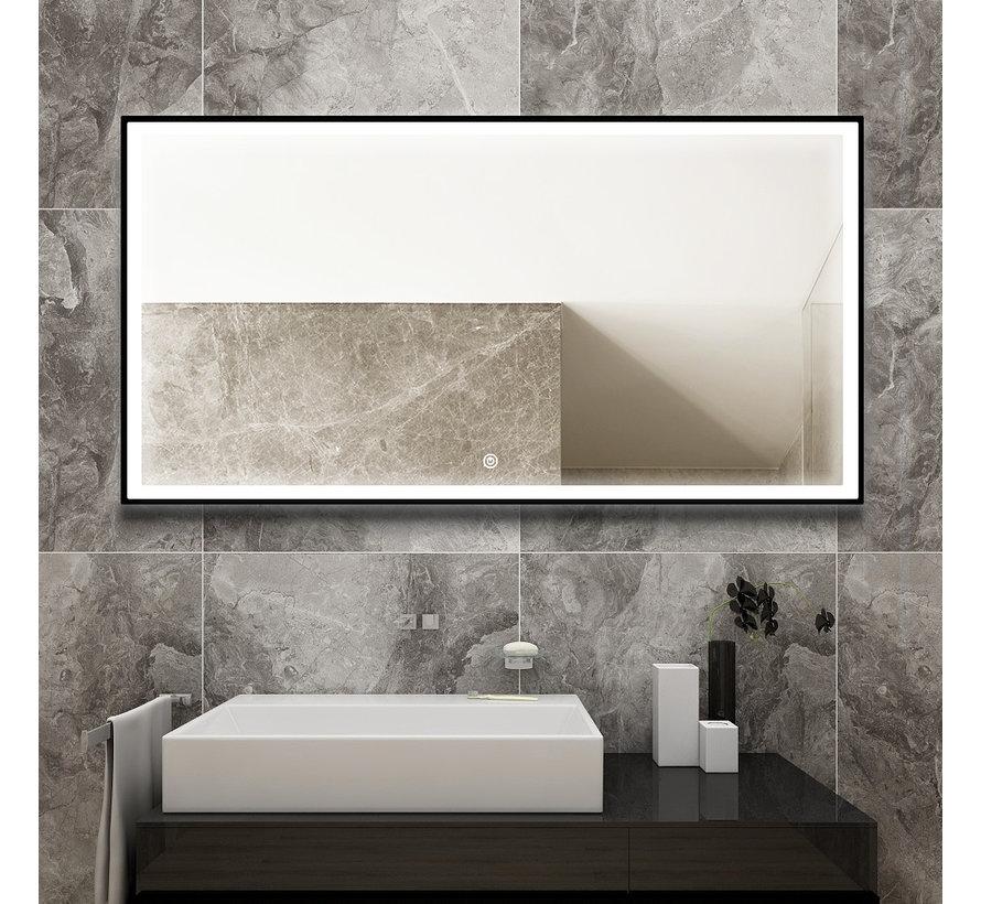 Spiegel met zwart frame, led, anticondens 60 x 120 cm