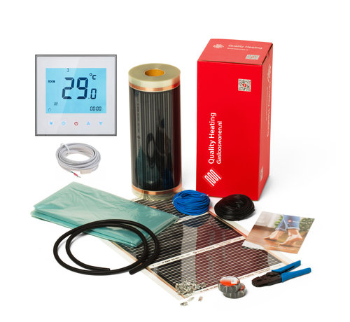 Quality Heating 80Watt m² folie set programmeerbaar wit of zwart