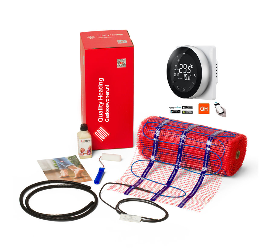 100 Watt elektrische vloerverwarming mat set inclusief Programmeerbare Remote Control thermostaat