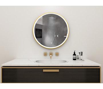 Bella Mirror Spiegel rond 60 cm met gouden frame, led verlichting en anti condens