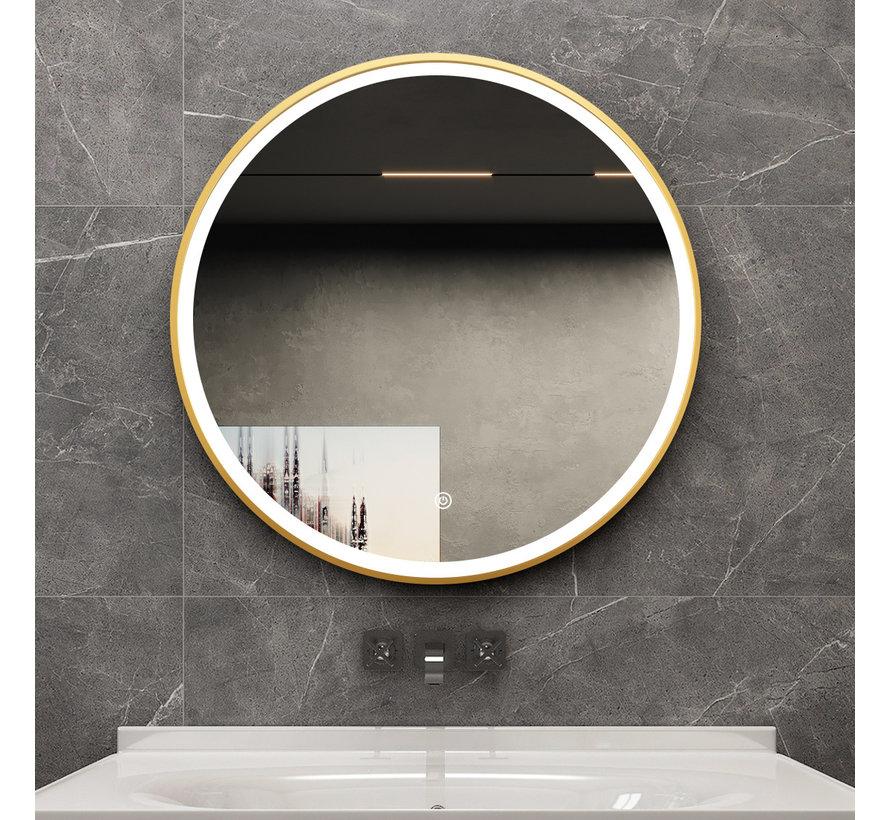 Spiegel rond 60 cm met gouden frame, led verlichting en anti condens