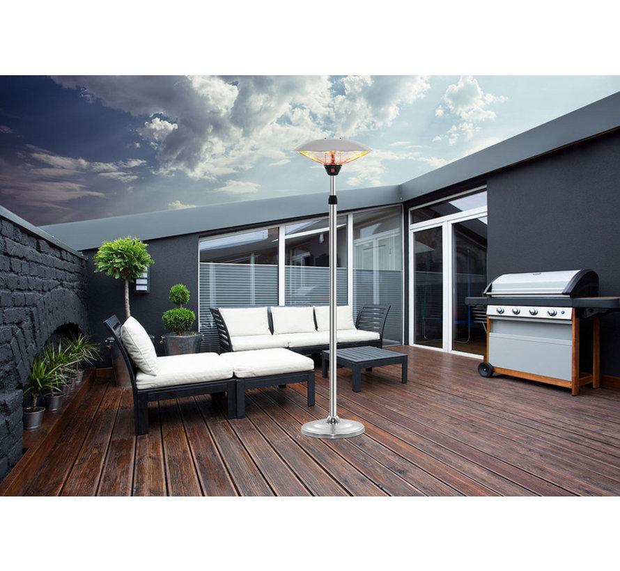 Verplaatsbare rvs terrasheater instelbaar rvs 2000Watt