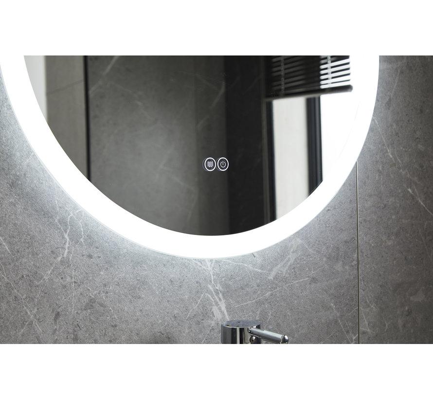 Spiegel rond 60 cm frameloos, inbouw led verlichting en anti condens