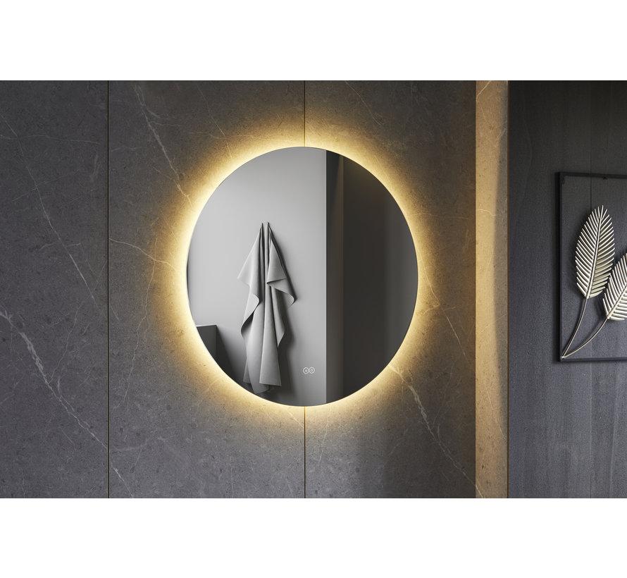 Spiegel rond 80 cm frameloos, rondom led verlichting en anti condens
