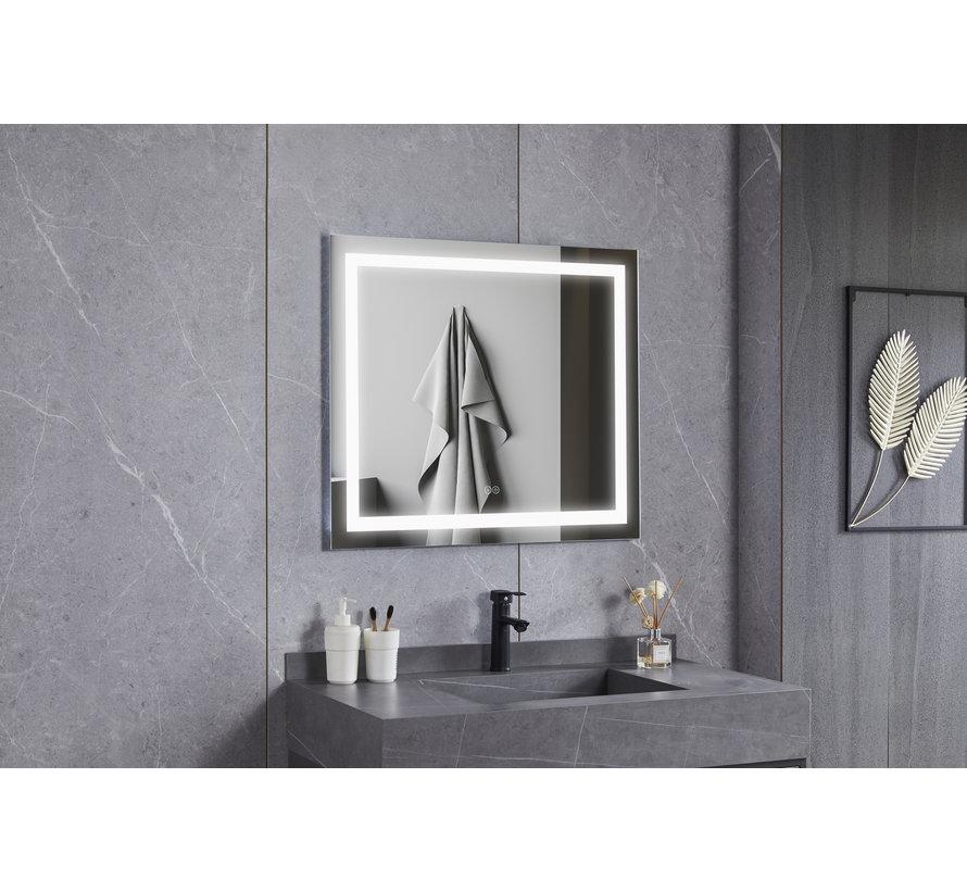 Spiegel 70 x 120 cm frameloos, inbouw led verlichting en anti condens