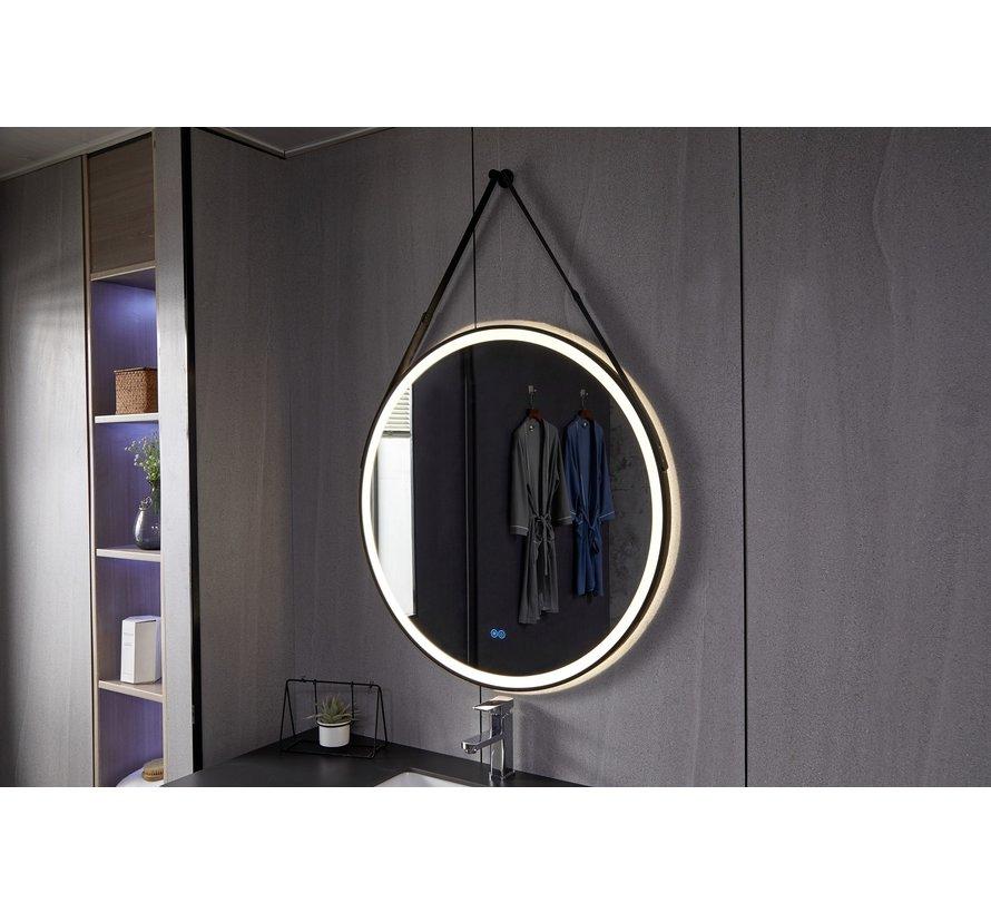 Spiegel rond 80 cm met trendy riem zwart frame, inbouw led verlichting en anti-condens
