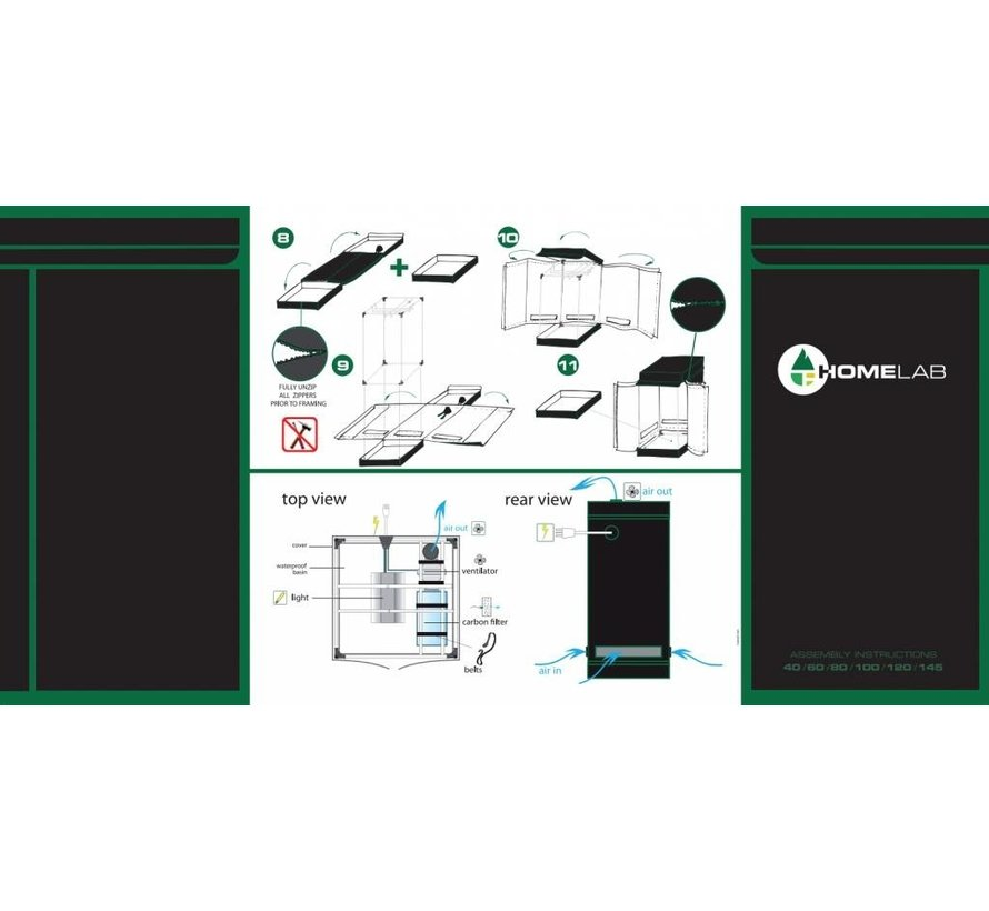 HomeLab 100 Kweektent- 100x100x200cm