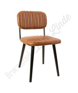 Eetkamer stoel 'leather stripes brown'