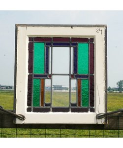 51 x 48 cm - Glas in lood raam No. 24