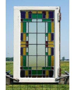 75 x 46,5 cm - Glas in lood raam No. 28