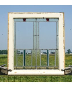 76,5 x 68,5 cm - Glas in lood raam No. 34