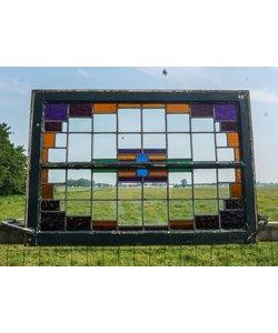76,5 x 110,5 cm - Glas in lood raam No. 45