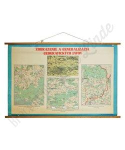 Schoolplaat plan en kaart geografische verschijnselen