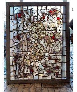 Uniek gebrandschilderd glas in lood raam