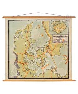 Vintage landkaart 'Denemarken-IJsland'