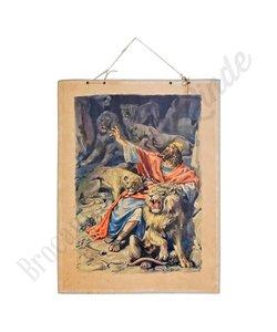 Historische schoolplaat 'Daniël in de leeuwenkuil'