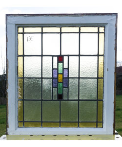 66 x 75,5 cm - Glas in lood raam No. 135