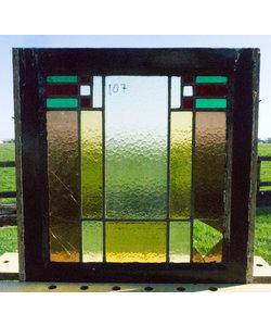 52,5 x 53,5 cm - Glas in lood raam No. 187