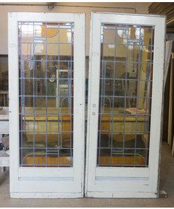 214 x 86 cm - Set glas in lood deur No. 124/125