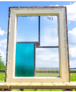 59,5 x 44,5 cm - Glas in lood raam No. 277