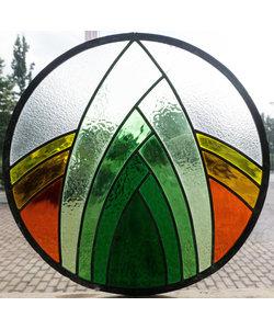 Diameter 45 cm - Glas in lood raam indonesië  No. 33