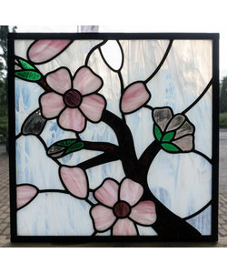 38,5 x 38,5 cm - Glas in lood raam Indonesië No. 34