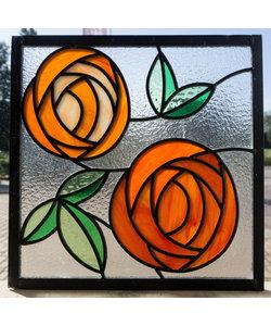 28,5 x 28,5 cm - Glas in lood raam Indonesië No. 42