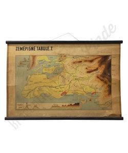 Oude landkaart - Geografische borden