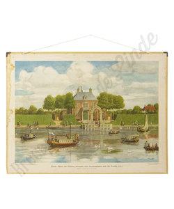 Historische schoolplaat - Gezicht op huis en rivier