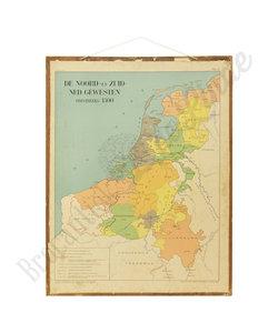 Oude landkaart - Gewesten noord&zuid Nederland