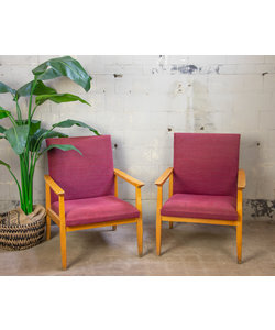 Set vintage fauteuils - Paars/Rood