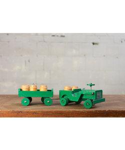Vintage auto met aanhanger - Groen