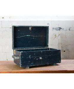 Houten blauwe kist