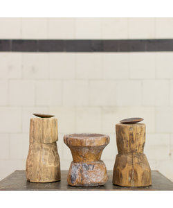 Indiase houten kandelaar Round 'M'