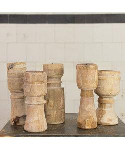 Indiase houten kandelaar Straight 'L'
