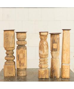 Indiase houten kandelaar Straight 'M'