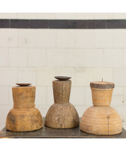 Indiase houten kandelaar Round 'L'