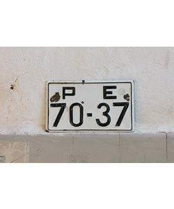 Vintage nummerbord - Wit emaille