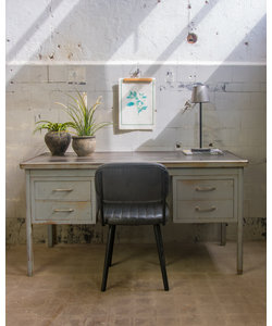 Industrieel bureau - Brushed steel