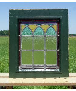 42,5 x 49,5 cm - Glas in lood raam No. 306