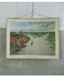 Vintage schoolplaat - Kampen en de IJseldelta
