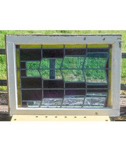 60,5 x 81,5 cm - Glas in lood raam No. 317