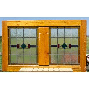 117,5 x 72,5 cm - Glas in lood raam No. 343