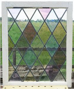 78 x 95,5 cm - Glas in lood raam No. 360