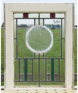 53,5 x 71,5 cm - Glas in lood raam No. 386