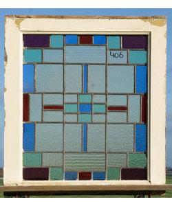 62,5 x 69,5 cm - Glas in lood raam No. 406