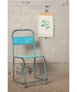 Stoere metalen stoel - Blauw