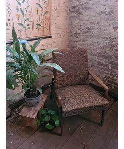 Enkele vintage fauteuil - Bruin/geel